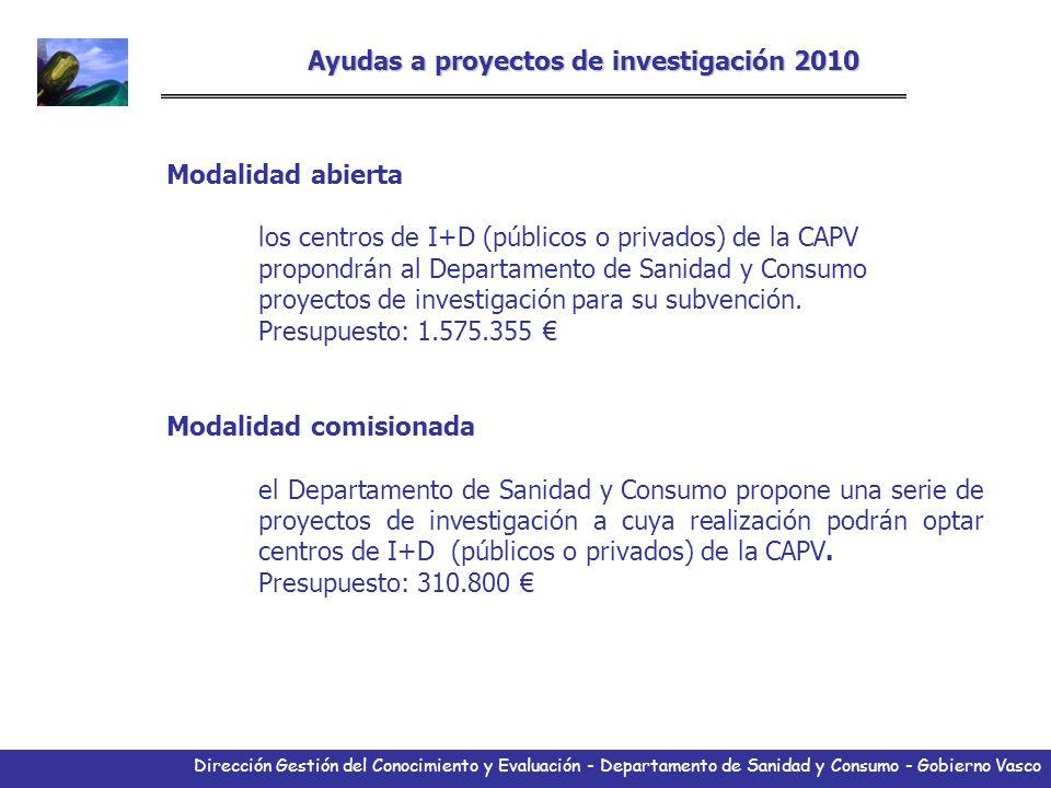 Dirección Gestión del Conocimiento y Evaluación - Departamento de Sanidad y Consumo - Gobierno Vasco Ayudas a proyectos de investigación 2010 Modalida