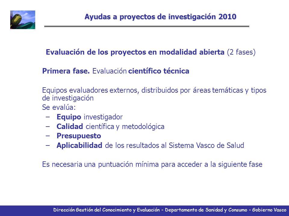 Dirección Gestión del Conocimiento y Evaluación - Departamento de Sanidad y Consumo - Gobierno Vasco Ayudas a proyectos de investigación 2010 Evaluaci