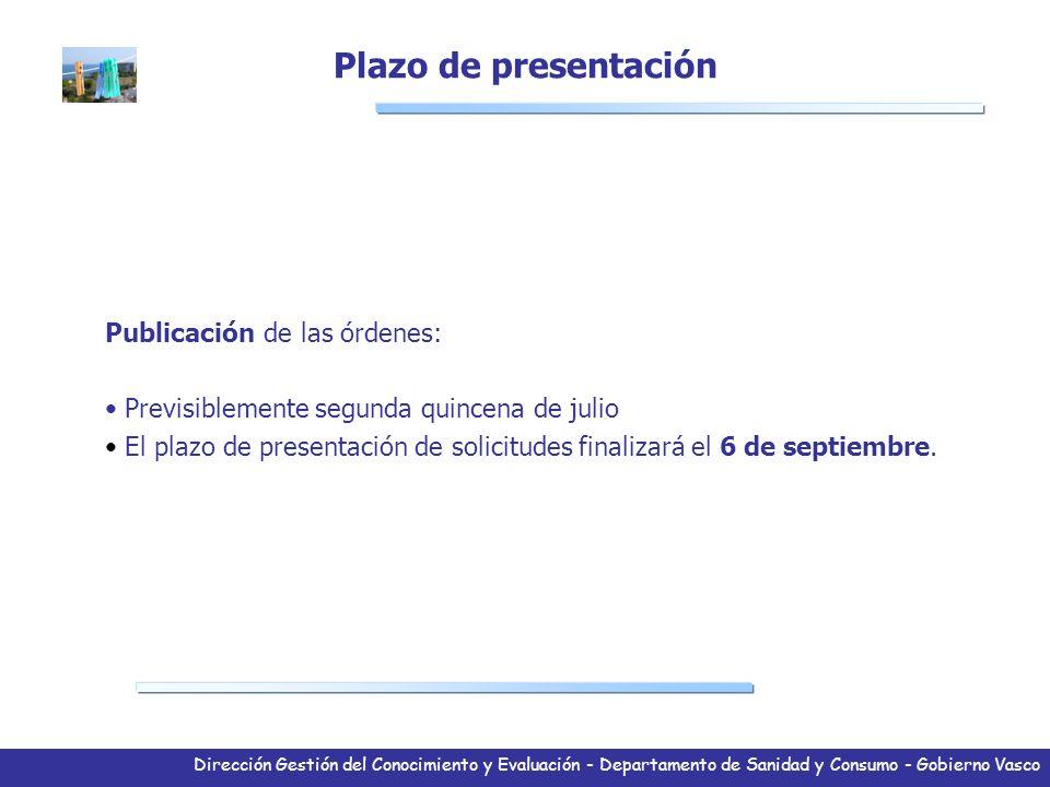 Dirección Gestión del Conocimiento y Evaluación - Departamento de Sanidad y Consumo - Gobierno Vasco Publicación de las órdenes: Previsiblemente segun
