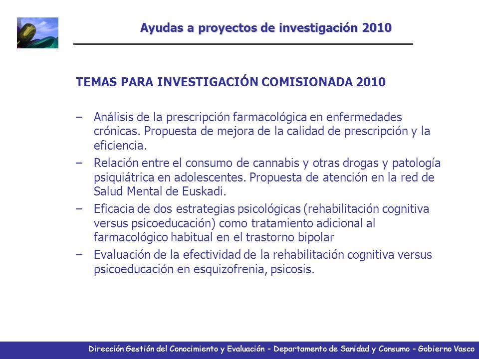 Dirección Gestión del Conocimiento y Evaluación - Departamento de Sanidad y Consumo - Gobierno Vasco Ayudas a proyectos de investigación 2010 TEMAS PA