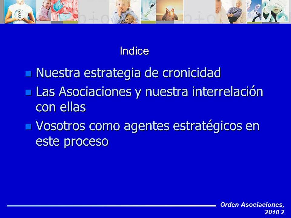 Orden Asociaciones, 2010 2 Indice n Nuestra estrategia de cronicidad n Las Asociaciones y nuestra interrelación con ellas n Vosotros como agentes estr