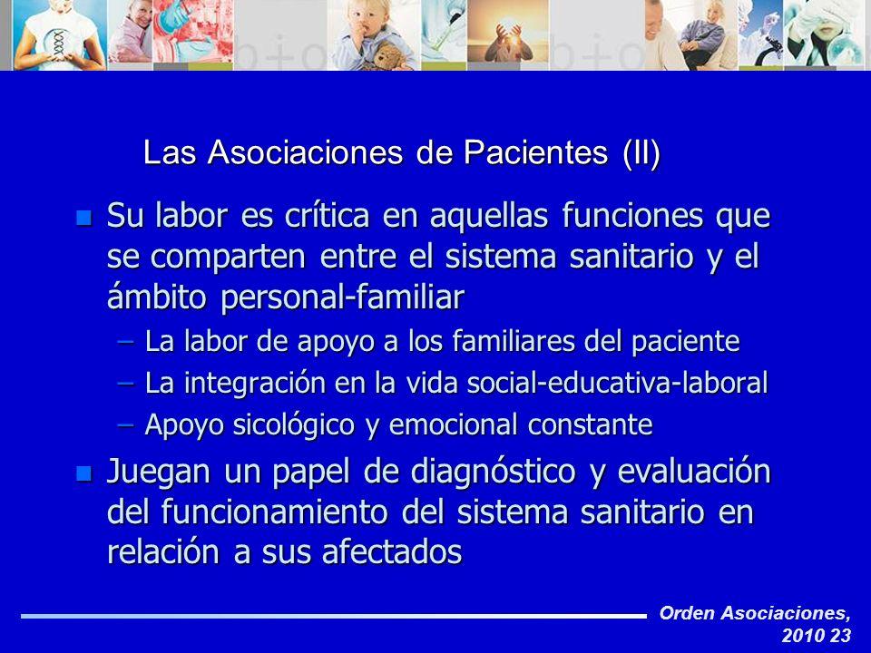 Orden Asociaciones, 2010 23 Las Asociaciones de Pacientes (II) n Su labor es crítica en aquellas funciones que se comparten entre el sistema sanitario