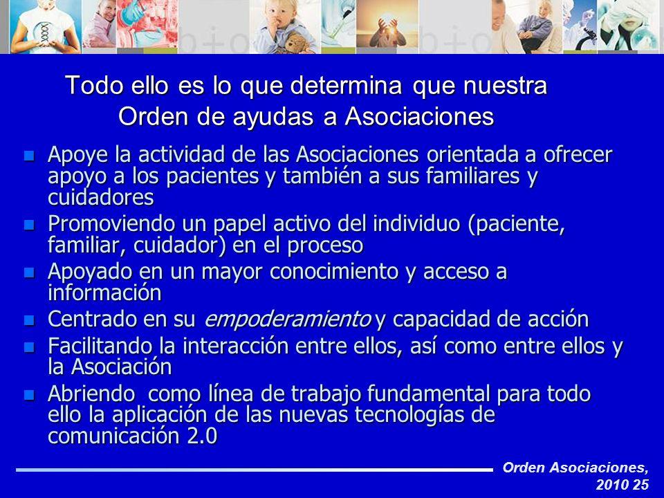 Orden Asociaciones, 2010 25 Todo ello es lo que determina que nuestra Orden de ayudas a Asociaciones n Apoye la actividad de las Asociaciones orientad