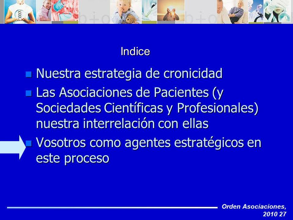 Orden Asociaciones, 2010 27 Indice n Nuestra estrategia de cronicidad n Las Asociaciones de Pacientes (y Sociedades Científicas y Profesionales) nuest