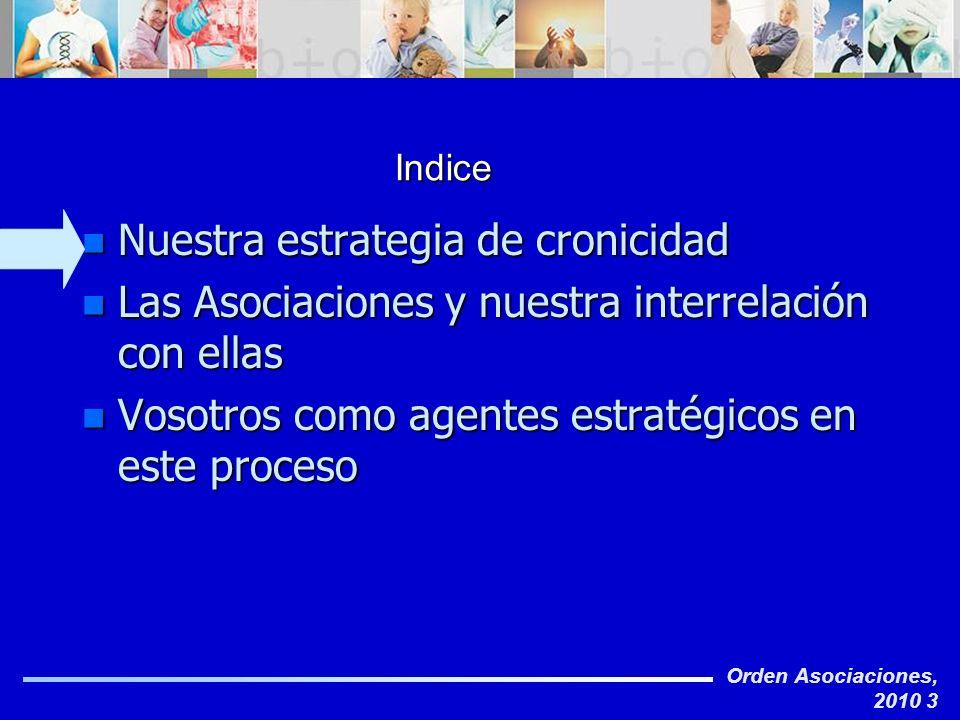 Orden Asociaciones, 2010 3 Indice n Nuestra estrategia de cronicidad n Las Asociaciones y nuestra interrelación con ellas n Vosotros como agentes estr