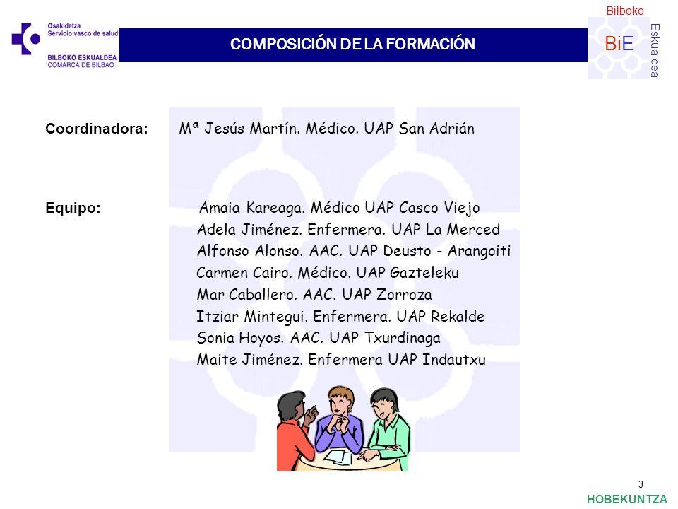 Bilboko Eskualdea BiE HOBEKUNTZA 3 Coordinadora: Mª Jesús Martín. Médico. UAP San Adrián COMPOSICIÓN DE LA FORMACIÓN Equipo: Amaia Kareaga. Médico UAP