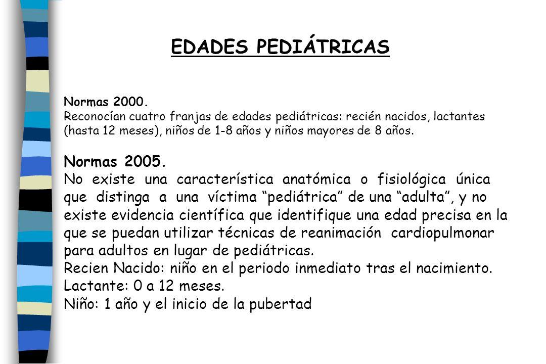 Normas 2000. Reconocían cuatro franjas de edades pediátricas: recién nacidos, lactantes (hasta 12 meses), niños de 1-8 años y niños mayores de 8 años.