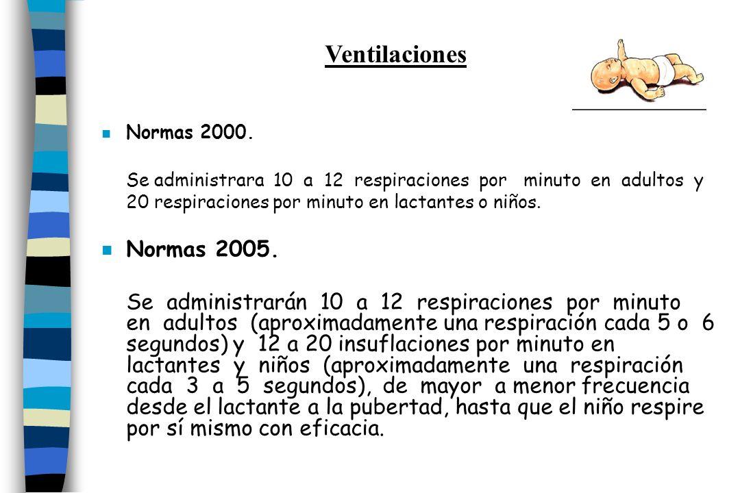 n Normas 2000. Se administrara 10 a 12 respiraciones por minuto en adultos y 20 respiraciones por minuto en lactantes o niños. n Normas 2005. Se admin