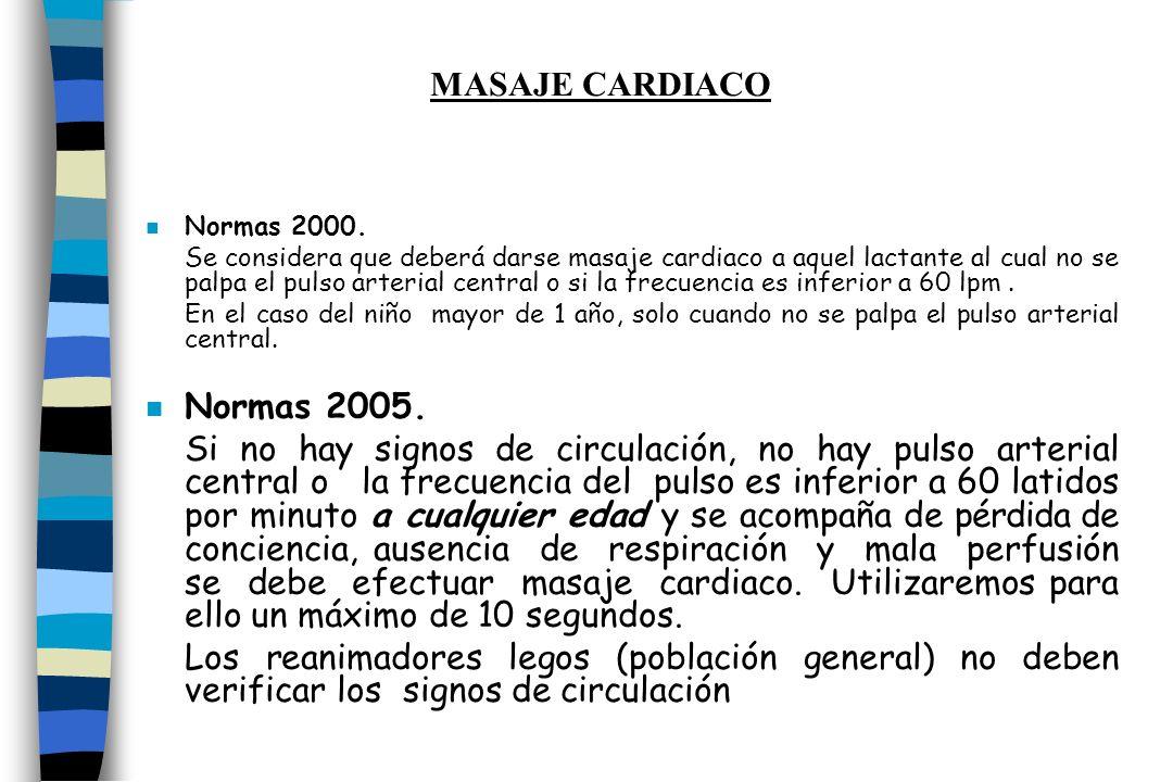 n Normas 2000. Se considera que deberá darse masaje cardiaco a aquel lactante al cual no se palpa el pulso arterial central o si la frecuencia es infe