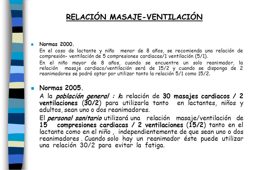 n Normas 2000. En el caso de lactante y niño menor de 8 años, se recomienda una relación de compresión- ventilación de 5 compresiones cardiacas/1 vent