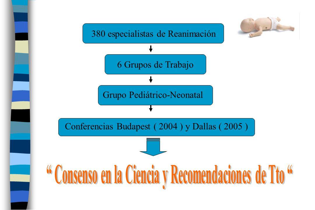 380 especialistas de Reanimación6 Grupos de Trabajo Grupo Pediátrico-Neonatal Conferencias Budapest ( 2004 ) y Dallas ( 2005 )