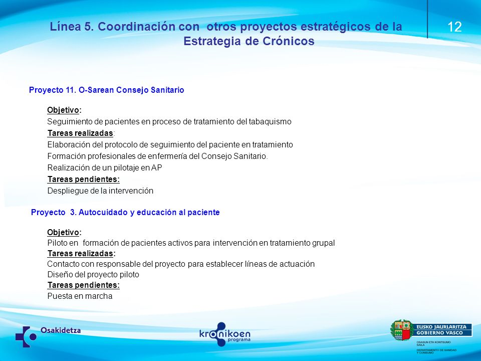 12 Línea 5.Coordinación con otros proyectos estratégicos de la Estrategia de Crónicos Proyecto 11.