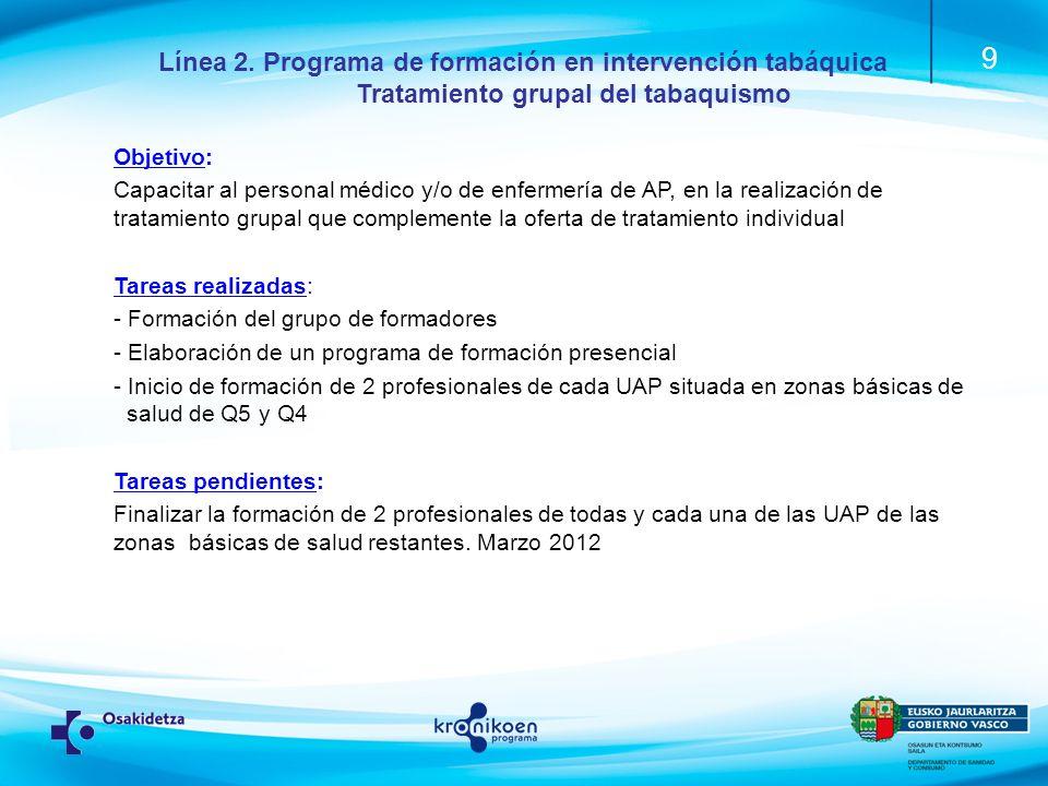 10 Línea 2.Programa de formación en intervención tabáquica.