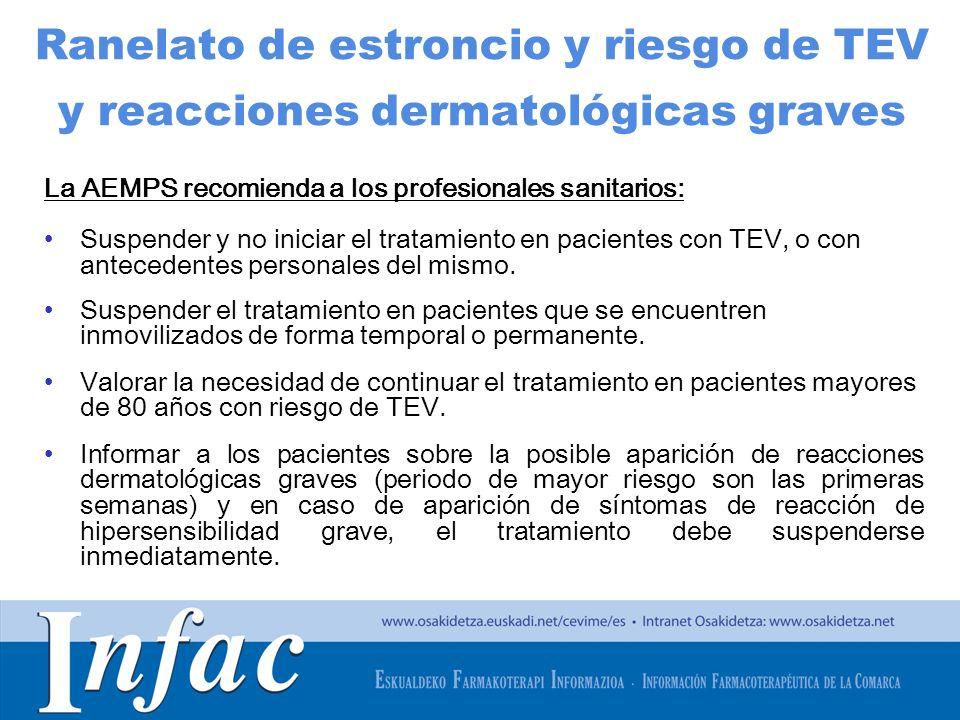 http://www.osakidetza.euskadi.net Ranelato de estroncio y riesgo de TEV y reacciones dermatológicas graves La AEMPS recomienda a los profesionales san