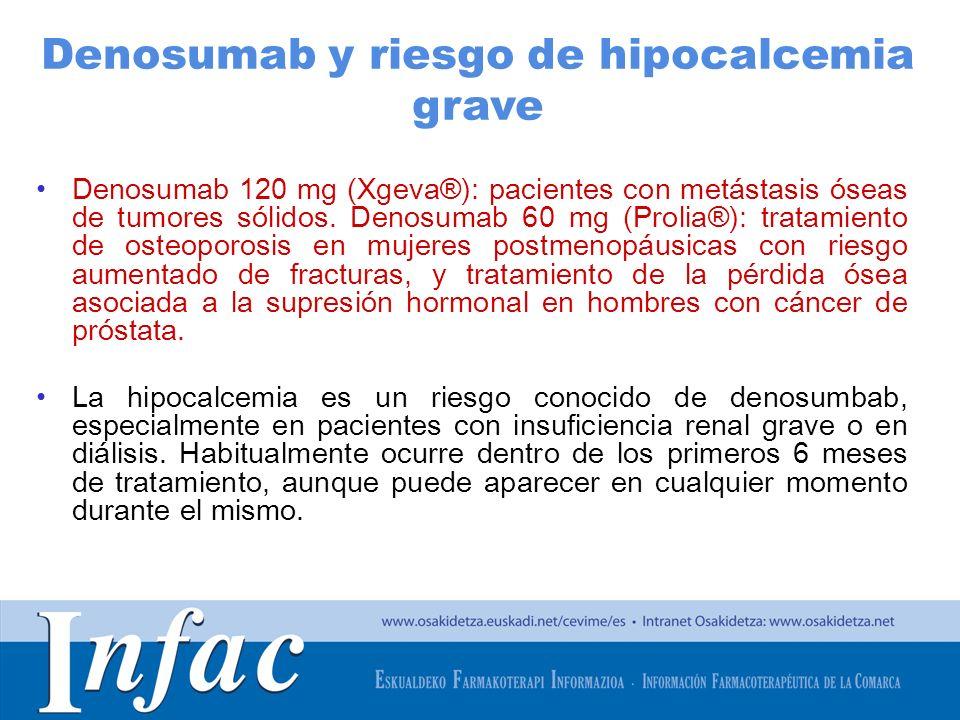 http://www.osakidetza.euskadi.net Denosumab 120 mg (Xgeva®): pacientes con metástasis óseas de tumores sólidos. Denosumab 60 mg (Prolia®): tratamiento