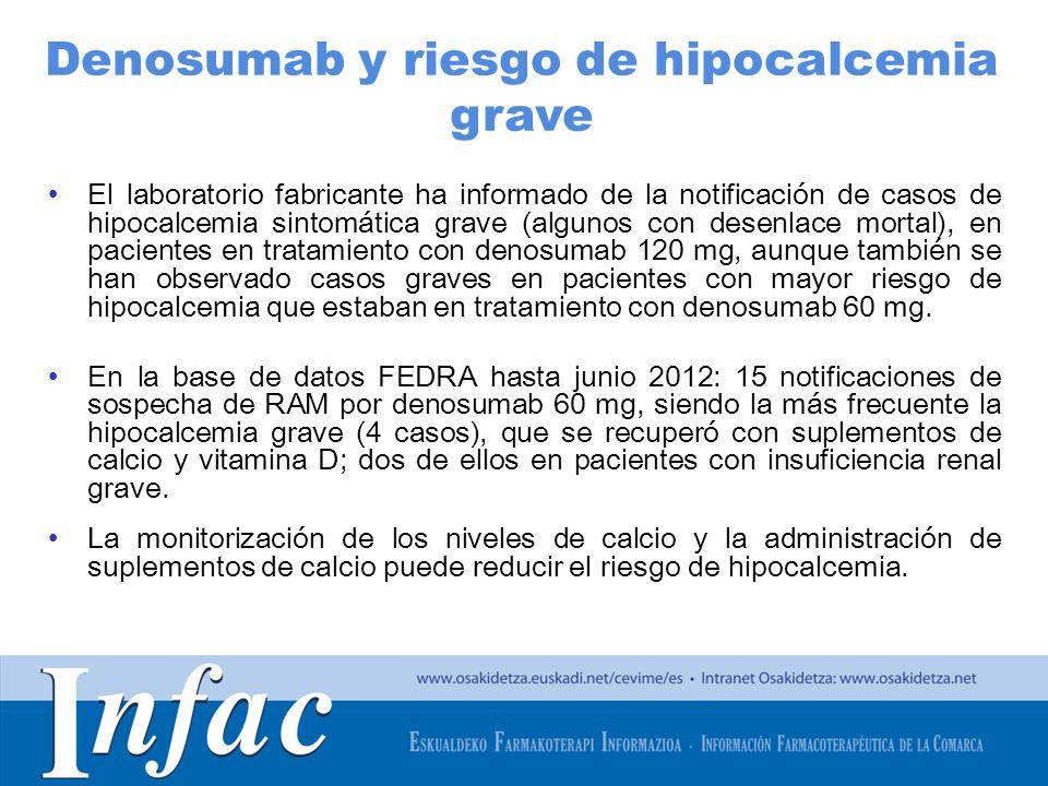 http://www.osakidetza.euskadi.net El laboratorio fabricante ha informado de la notificación de casos de hipocalcemia sintomática grave (algunos con de