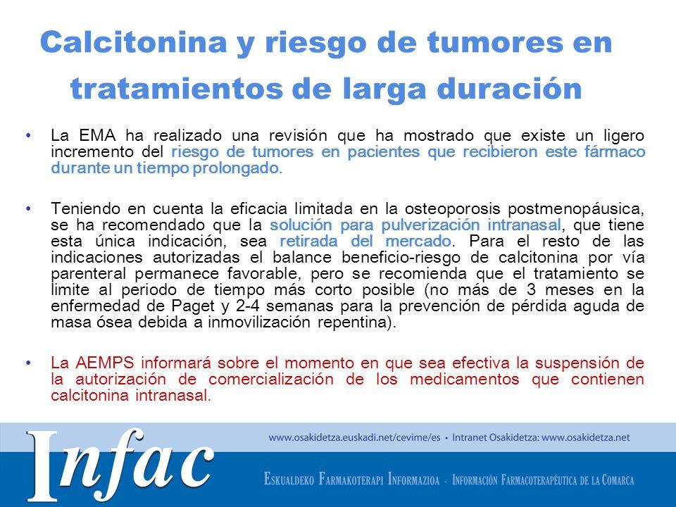 http://www.osakidetza.euskadi.net Calcitonina y riesgo de tumores en tratamientos de larga duración La EMA ha realizado una revisión que ha mostrado q