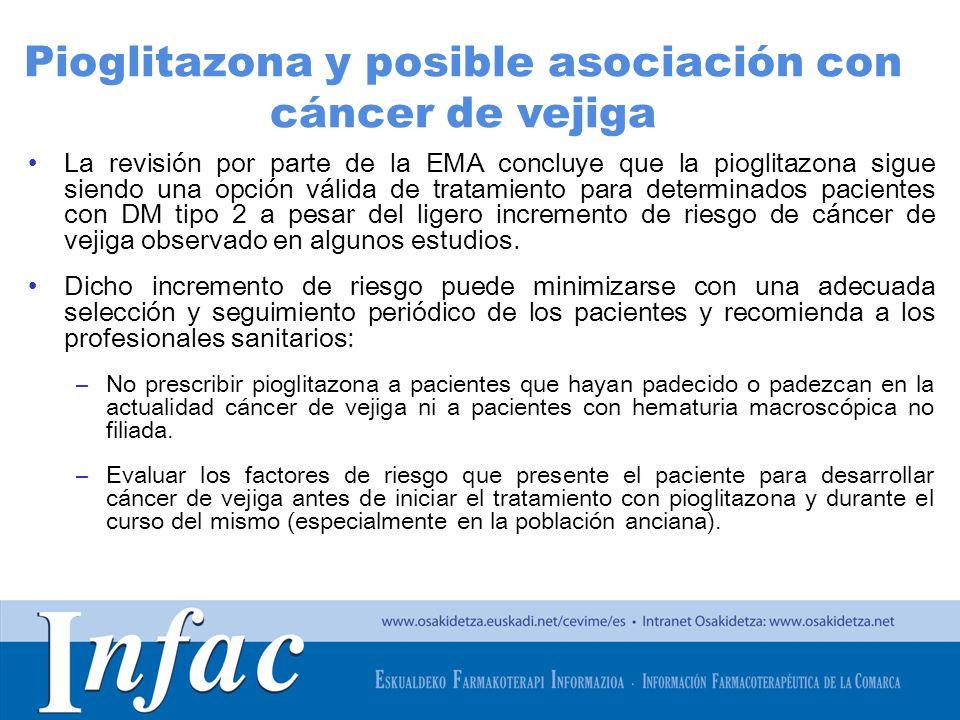 http://www.osakidetza.euskadi.net La revisión por parte de la EMA concluye que la pioglitazona sigue siendo una opción válida de tratamiento para dete