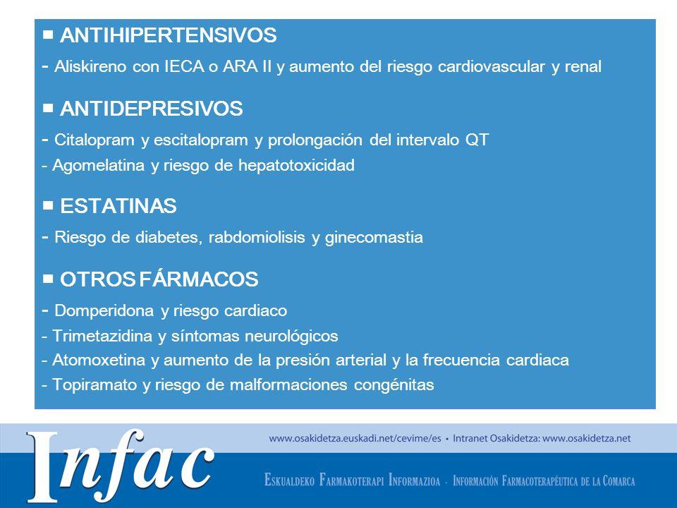 http://www.osakidetza.euskadi.net ANTIHIPERTENSIVOS - Aliskireno con IECA o ARA II y aumento del riesgo cardiovascular y renal ANTIDEPRESIVOS - Citalo