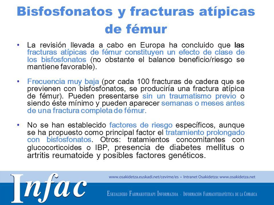 http://www.osakidetza.euskadi.net Bisfosfonatos y fracturas atípicas de fémur La revisión llevada a cabo en Europa ha concluido que las fracturas atíp