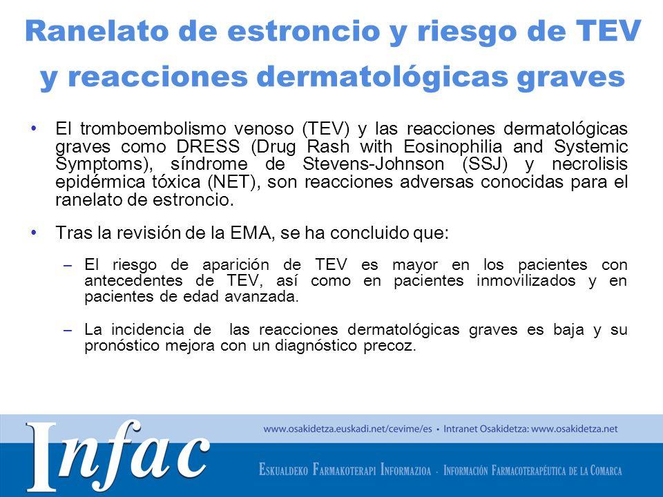 http://www.osakidetza.euskadi.net Ranelato de estroncio y riesgo de TEV y reacciones dermatológicas graves El tromboembolismo venoso (TEV) y las reacc