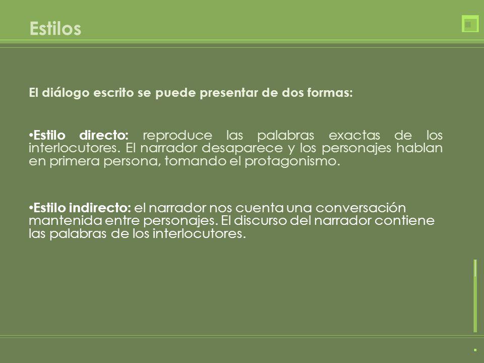 Características del estilo directo: Cada intervención es considerada como un párrafo y siempre es precedida de un guión (-).