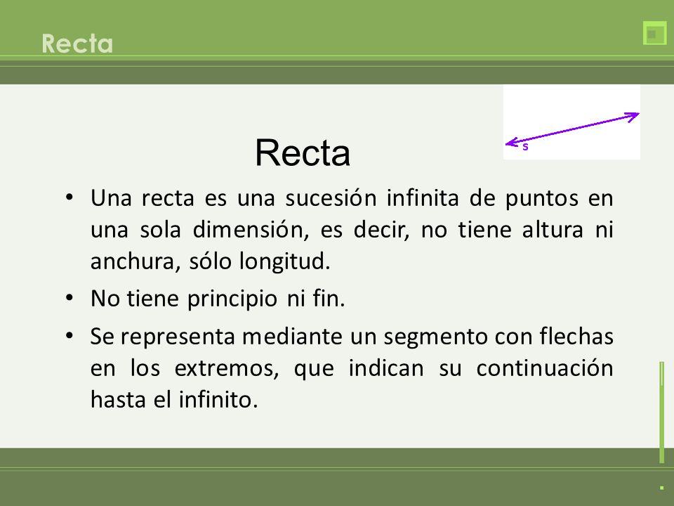 Recta Una recta es una sucesión infinita de puntos en una sola dimensión, es decir, no tiene altura ni anchura, sólo longitud. No tiene principio ni f