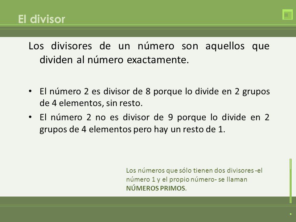 El divisor Los divisores de un número son aquellos que dividen al número exactamente. El número 2 es divisor de 8 porque lo divide en 2 grupos de 4 el