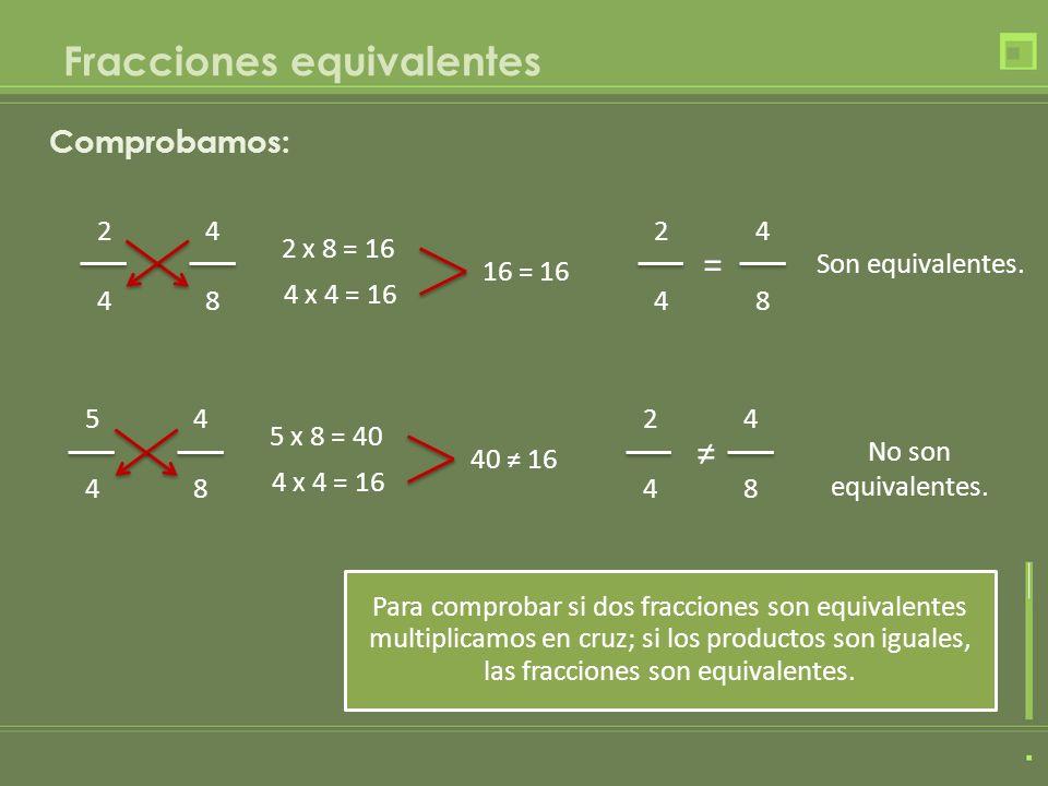 Fracciones equivalentes Para comprobar si dos fracciones son equivalentes multiplicamos en cruz; si los productos son iguales, las fracciones son equi