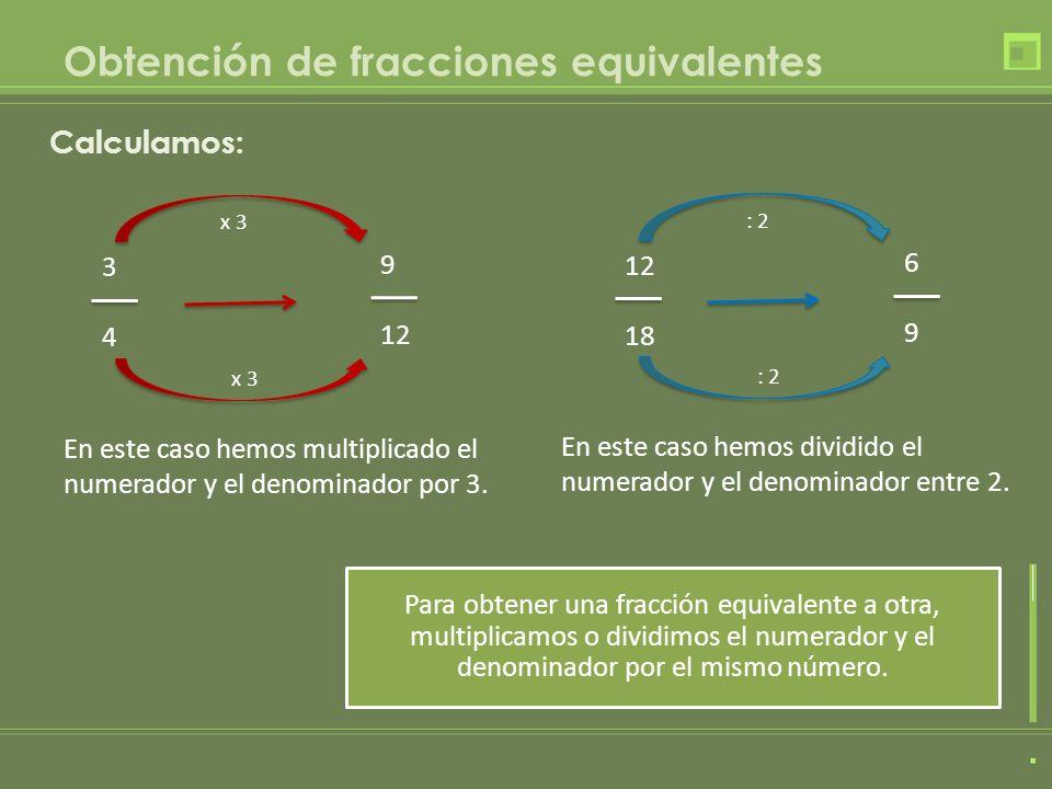 Obtención de fracciones equivalentes 4646 = Multiplicamos por 4 4 x 4 6 x 4 = 16 24 5 15 = Dividimos entre 5 5 : 5 15 : 5 = 1313