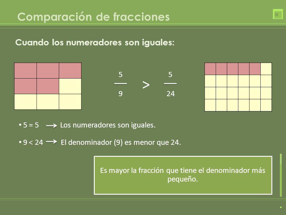 Es mayor la fracción que tiene el denominador más pequeño. 5 = 5 Los numeradores son iguales. 5 9 Cuando los numeradores son iguales: 5 24 > 9 < 24 El