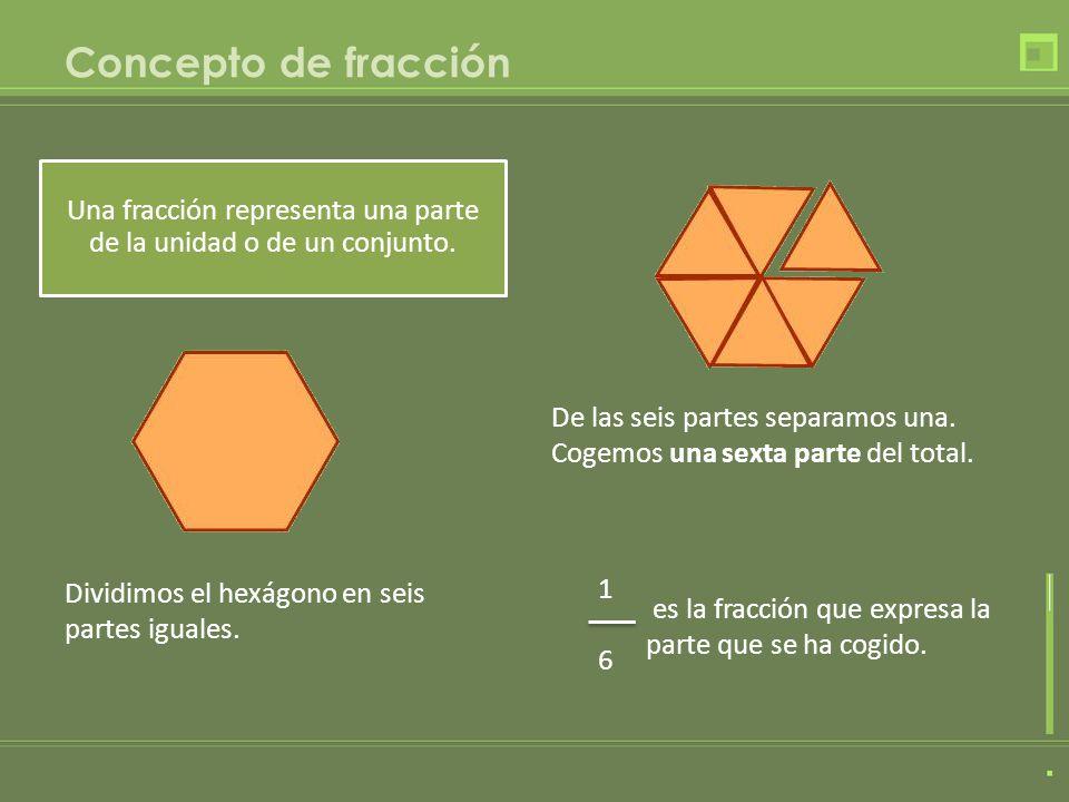Concepto de fracción Una fracción representa una parte de la unidad o de un conjunto. Dividimos el hexágono en seis partes iguales. De las seis partes