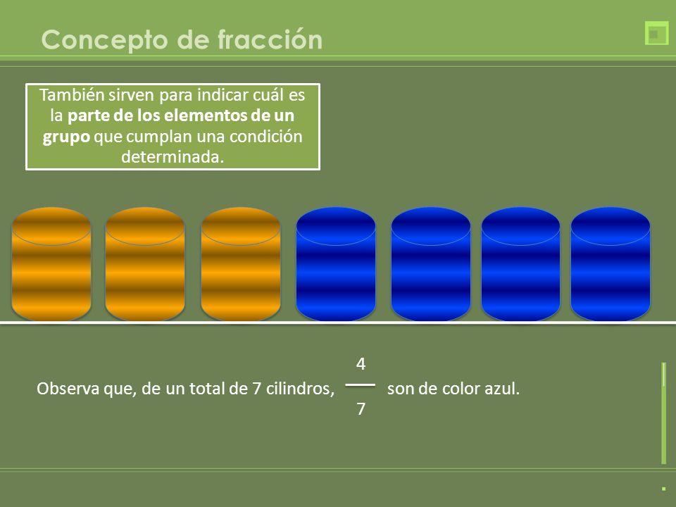 Concepto de fracción También sirven para indicar cuál es la parte de los elementos de un grupo que cumplan una condición determinada. 4 7 Observa que,