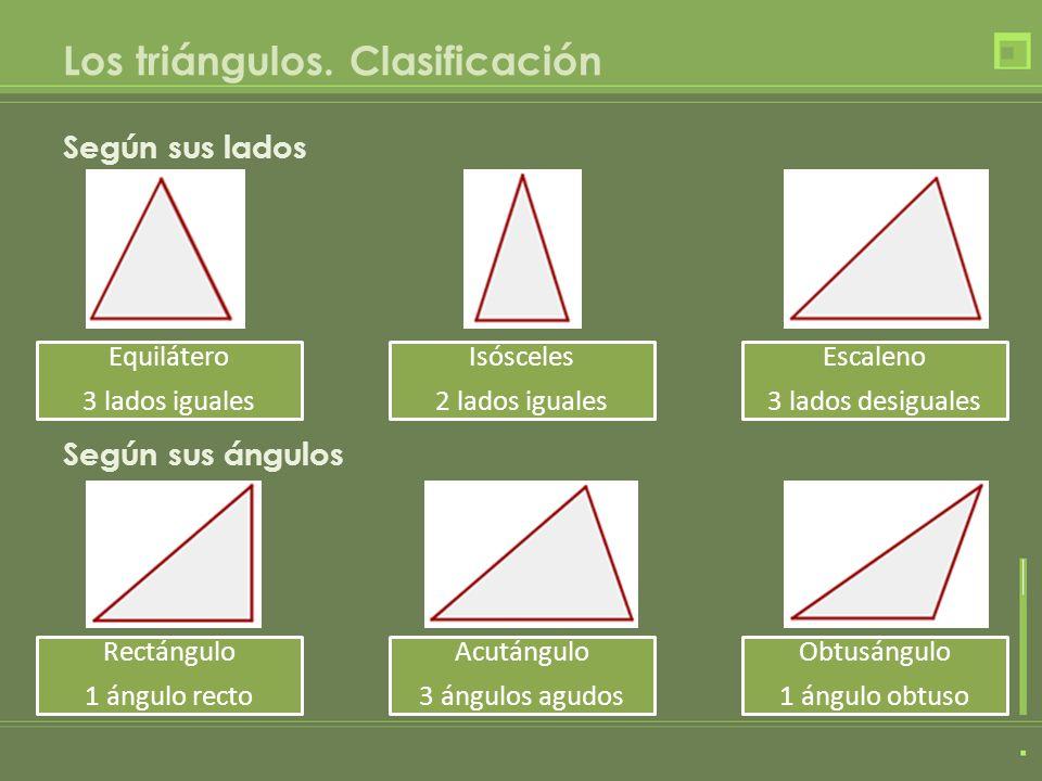 Los triángulos. Clasificación Según sus lados Según sus ángulos Equilátero 3 lados iguales Isósceles 2 lados iguales Escaleno 3 lados desiguales Rectá