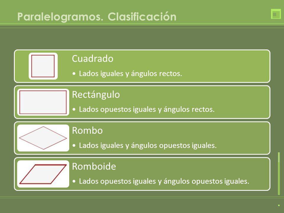 Paralelogramos. Clasificación Cuadrado Lados iguales y ángulos rectos. Rectángulo Lados opuestos iguales y ángulos rectos. Rombo Lados iguales y ángul