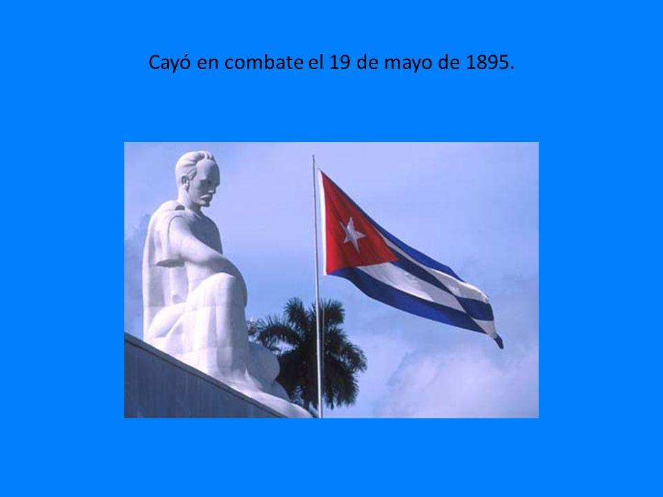 Cayó en combate el 19 de mayo de 1895.