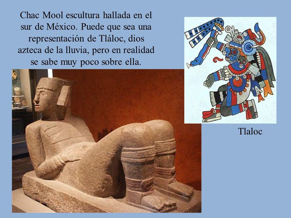 Tlaloc Chac Mool escultura hallada en el sur de México. Puede que sea una representación de Tláloc, dios azteca de la lluvia, pero en realidad se sabe