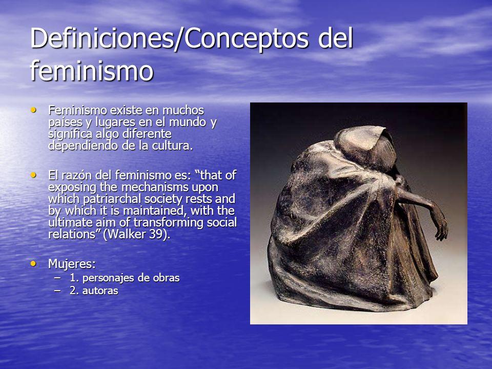 Definiciones/Conceptos del feminismo Feminismo existe en muchos países y lugares en el mundo y significa algo diferente dependiendo de la cultura. Fem