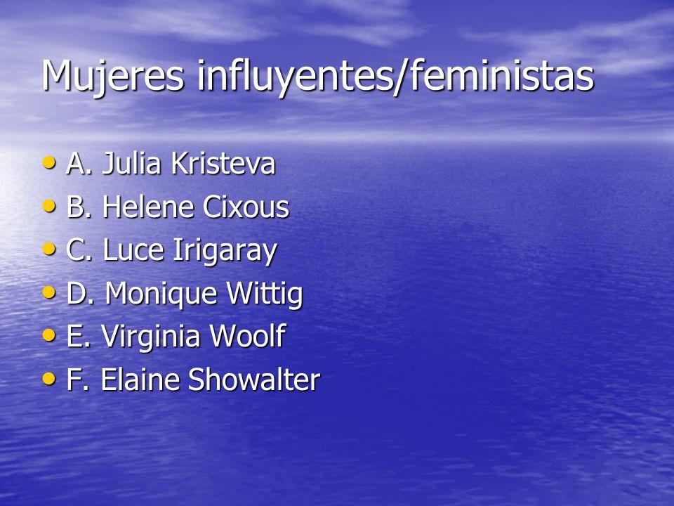 Mujeres influyentes/feministas A. Julia Kristeva A. Julia Kristeva B. Helene Cixous B. Helene Cixous C. Luce Irigaray C. Luce Irigaray D. Monique Witt