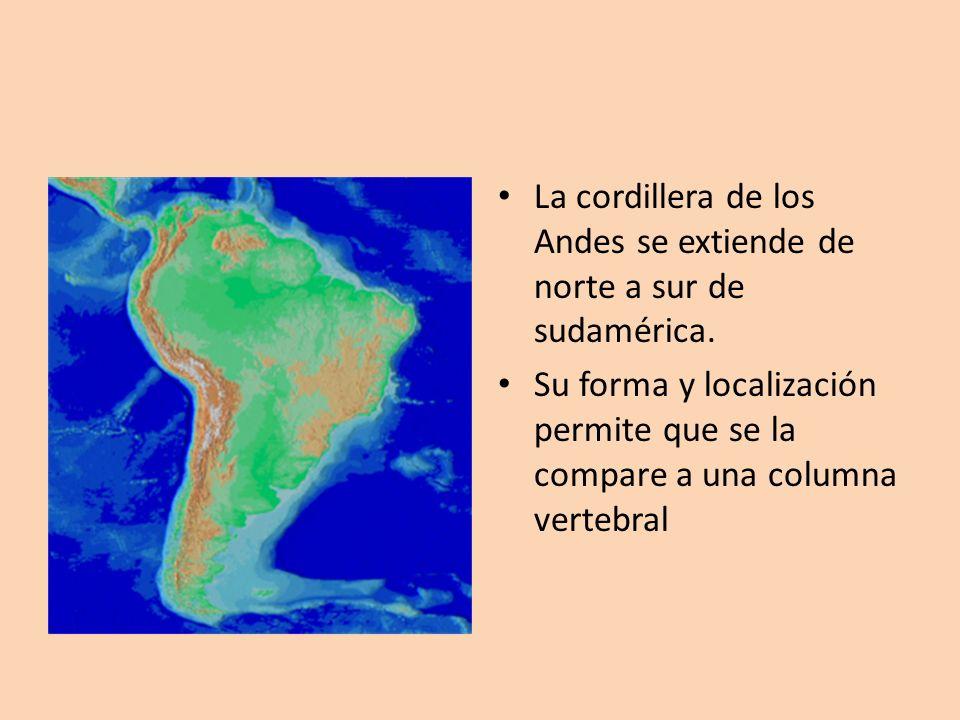 La cordillera de los Andes se extiende de norte a sur de sudamérica. Su forma y localización permite que se la compare a una columna vertebral