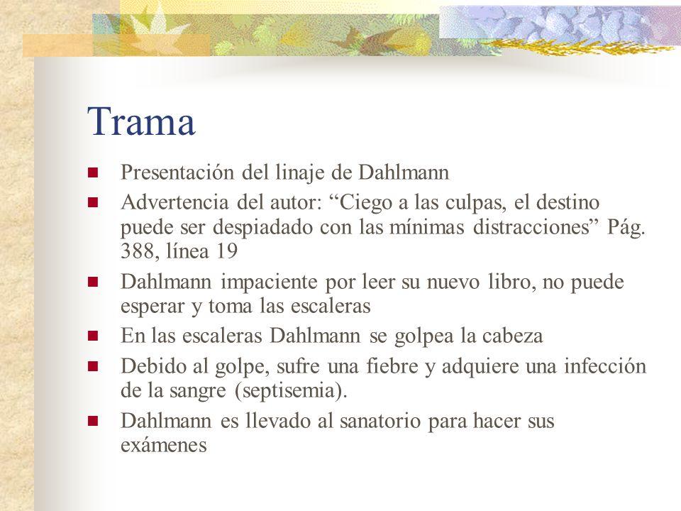 Trama Presentación del linaje de Dahlmann Advertencia del autor: Ciego a las culpas, el destino puede ser despiadado con las mínimas distracciones Pág