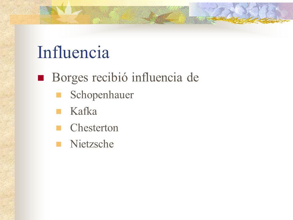 Influencia Borges recibió influencia de Schopenhauer Kafka Chesterton Nietzsche