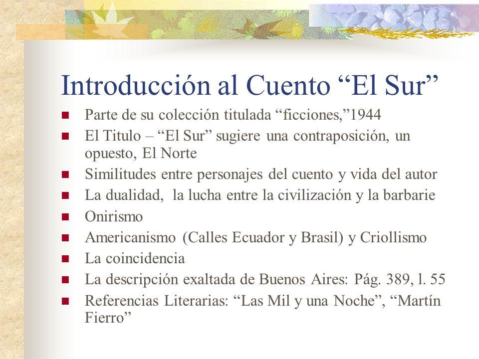 Introducción al Cuento El Sur Parte de su colección titulada ficciones,1944 El Titulo – El Sur sugiere una contraposición, un opuesto, El Norte Simili