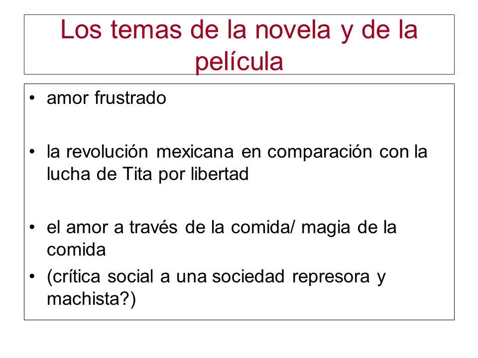Los temas de la novela y de la película amor frustrado la revolución mexicana en comparación con la lucha de Tita por libertad el amor a través de la