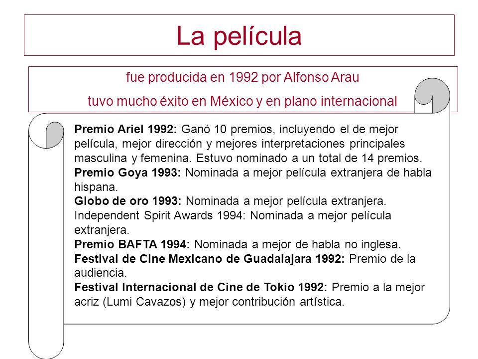 La película fue producida en 1992 por Alfonso Arau tuvo mucho éxito en México y en plano internacional Premio Ariel 1992: Ganó 10 premios, incluyendo