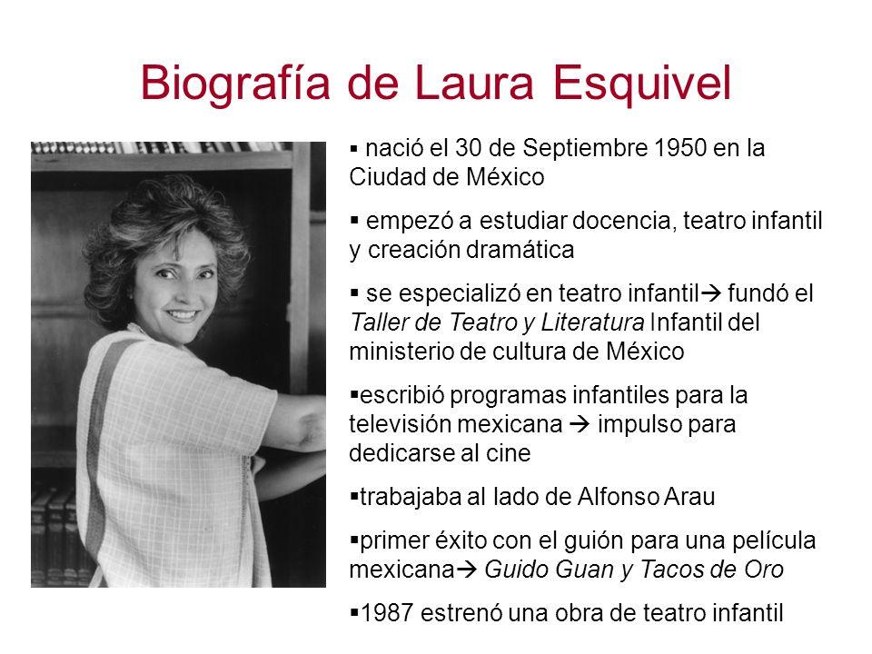 Biografía de Laura Esquivel nació el 30 de Septiembre 1950 en la Ciudad de México empezó a estudiar docencia, teatro infantil y creación dramática se