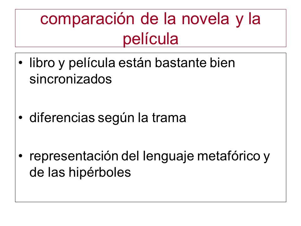 comparación de la novela y la película libro y película están bastante bien sincronizados diferencias según la trama representación del lenguaje metaf