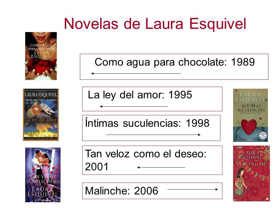 Novelas de Laura Esquivel Como agua para chocolate: 1989 La ley del amor: 1995 Íntimas suculencias: 1998 Tan veloz como el deseo: 2001 Malinche: 2006