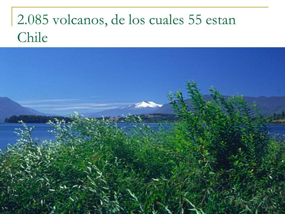 2.085 volcanos, de los cuales 55 estan Chile