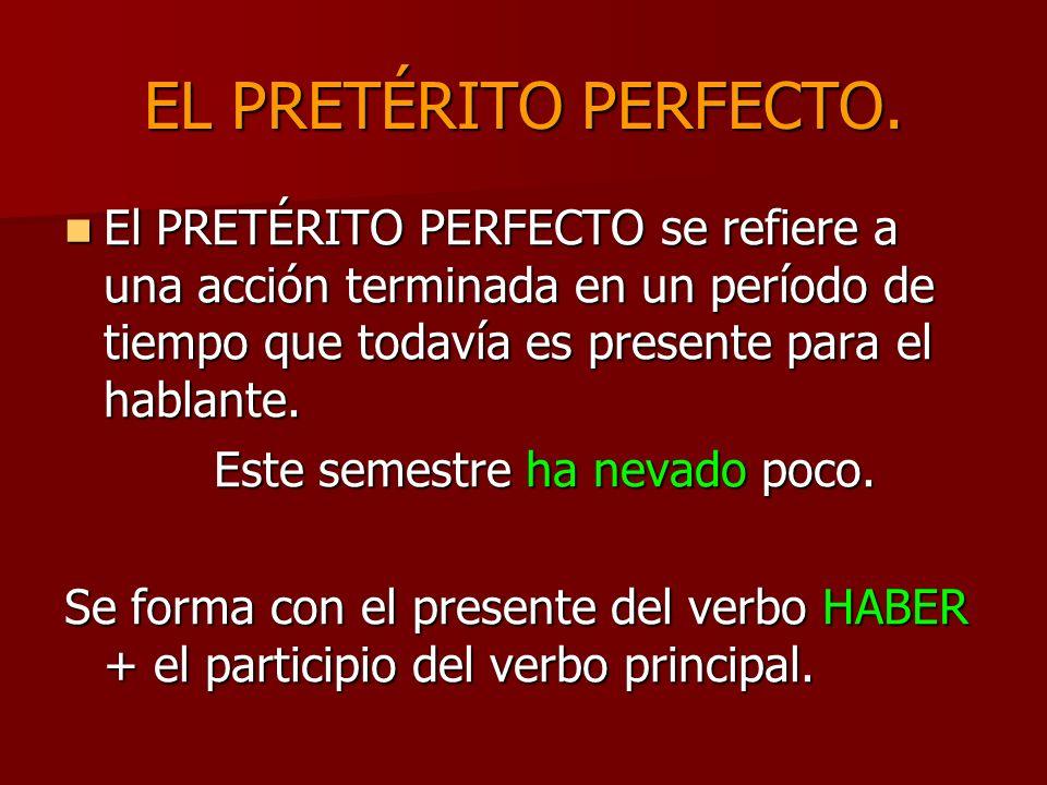 EL PRETÉRITO PERFECTO. El PRETÉRITO PERFECTO se refiere a una acción terminada en un período de tiempo que todavía es presente para el hablante. El PR